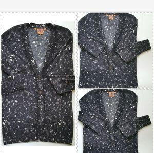 {Tory Burch} Paint Splatter Wool Cardigan Size Med